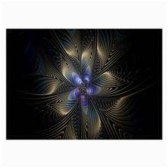 Fractal Blue Abstract Fractal Art Large Glasses Cloth (2 Side)