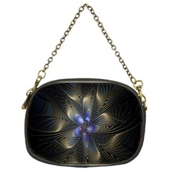 Fractal Blue Abstract Fractal Art Chain Purses (Two Sides)