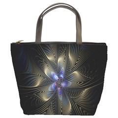 Fractal Blue Abstract Fractal Art Bucket Bags
