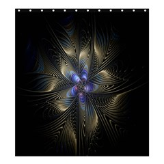 Fractal Blue Abstract Fractal Art Shower Curtain 66  x 72  (Large)