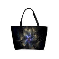 Fractal Blue Abstract Fractal Art Shoulder Handbags