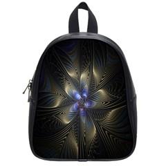 Fractal Blue Abstract Fractal Art School Bags (Small)