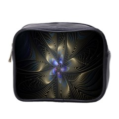 Fractal Blue Abstract Fractal Art Mini Toiletries Bag 2-Side