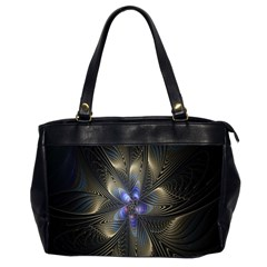 Fractal Blue Abstract Fractal Art Office Handbags (2 Sides)