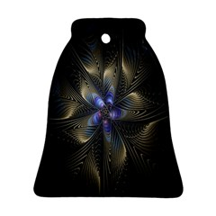 Fractal Blue Abstract Fractal Art Bell Ornament (Two Sides)