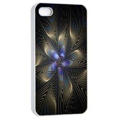 Fractal Blue Abstract Fractal Art Apple Iphone 4/4s Seamless Case (white)
