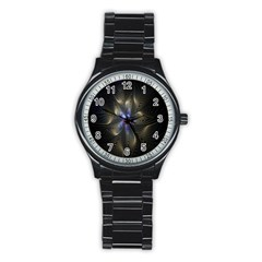 Fractal Blue Abstract Fractal Art Stainless Steel Round Watch