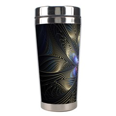 Fractal Blue Abstract Fractal Art Stainless Steel Travel Tumblers