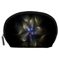 Fractal Blue Abstract Fractal Art Accessory Pouches (large)