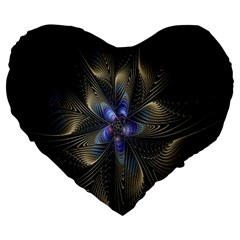 Fractal Blue Abstract Fractal Art Large 19  Premium Flano Heart Shape Cushions