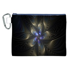 Fractal Blue Abstract Fractal Art Canvas Cosmetic Bag (XXL)