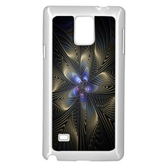 Fractal Blue Abstract Fractal Art Samsung Galaxy Note 4 Case (White)