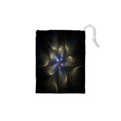Fractal Blue Abstract Fractal Art Drawstring Pouches (XS)