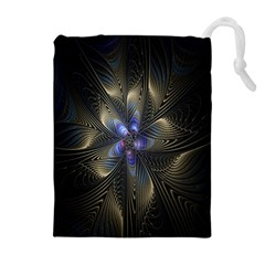 Fractal Blue Abstract Fractal Art Drawstring Pouches (Extra Large)