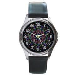 Fractal Texture Round Metal Watch