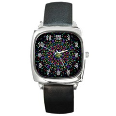 Fractal Texture Square Metal Watch