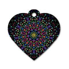 Fractal Texture Dog Tag Heart (One Side)