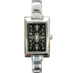 Fractal Beige Blue Abstract Rectangle Italian Charm Watch