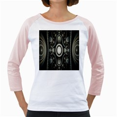 Fractal Beige Blue Abstract Girly Raglans