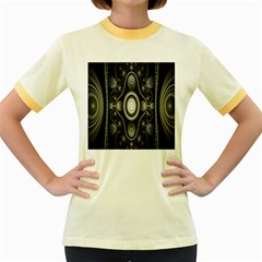 Fractal Beige Blue Abstract Women s Fitted Ringer T-Shirts