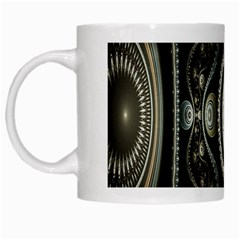 Fractal Beige Blue Abstract White Mugs