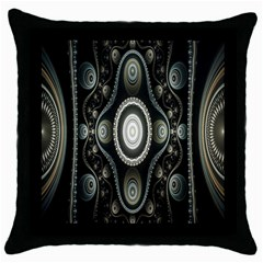 Fractal Beige Blue Abstract Throw Pillow Case (Black)