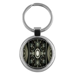 Fractal Beige Blue Abstract Key Chains (Round)
