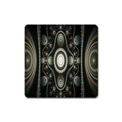 Fractal Beige Blue Abstract Square Magnet