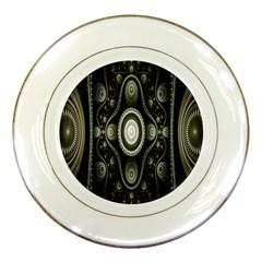 Fractal Beige Blue Abstract Porcelain Plates