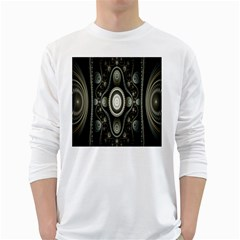 Fractal Beige Blue Abstract White Long Sleeve T Shirts