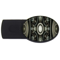 Fractal Beige Blue Abstract USB Flash Drive Oval (4 GB)
