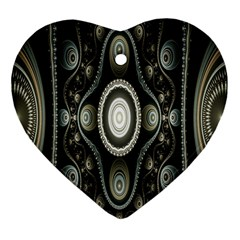 Fractal Beige Blue Abstract Heart Ornament (Two Sides)