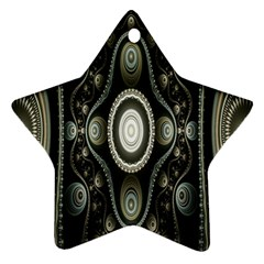 Fractal Beige Blue Abstract Star Ornament (two Sides)