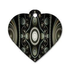 Fractal Beige Blue Abstract Dog Tag Heart (Two Sides)