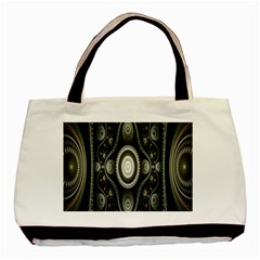Fractal Beige Blue Abstract Basic Tote Bag (Two Sides)