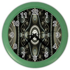 Fractal Beige Blue Abstract Color Wall Clocks