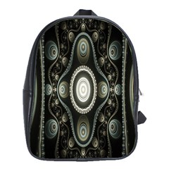 Fractal Beige Blue Abstract School Bags(Large)