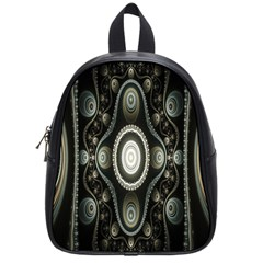 Fractal Beige Blue Abstract School Bags (Small)