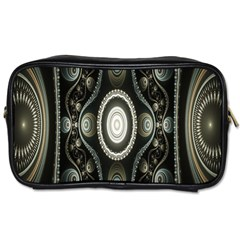 Fractal Beige Blue Abstract Toiletries Bags