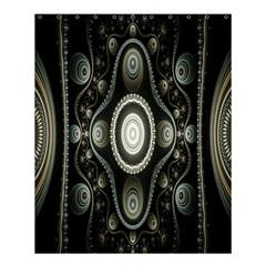 Fractal Beige Blue Abstract Shower Curtain 60  x 72  (Medium)