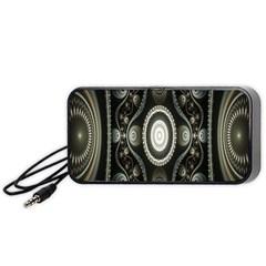 Fractal Beige Blue Abstract Portable Speaker (Black)