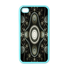 Fractal Beige Blue Abstract Apple iPhone 4 Case (Color)