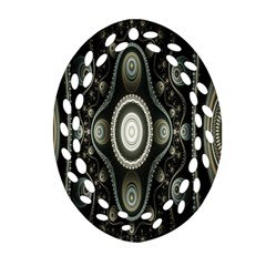 Fractal Beige Blue Abstract Oval Filigree Ornament (Two Sides)