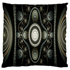 Fractal Beige Blue Abstract Large Cushion Case (one Side)