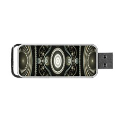 Fractal Beige Blue Abstract Portable Usb Flash (one Side)