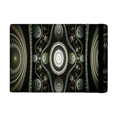 Fractal Beige Blue Abstract Apple iPad Mini Flip Case