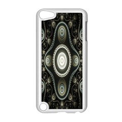 Fractal Beige Blue Abstract Apple iPod Touch 5 Case (White)
