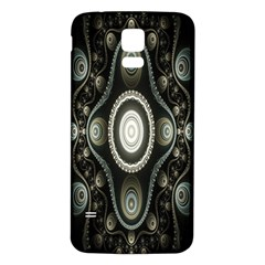 Fractal Beige Blue Abstract Samsung Galaxy S5 Back Case (white)