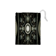 Fractal Beige Blue Abstract Drawstring Pouches (Small)