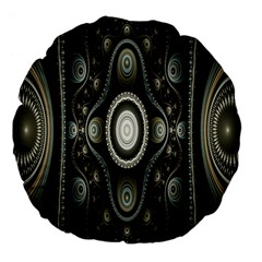 Fractal Beige Blue Abstract Large 18  Premium Flano Round Cushions